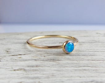 Blue opal ring, gold gemstone ring, birstone ring, tiny opal band. Stacking rings.
