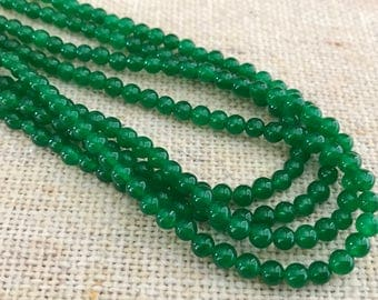 True Green Candy Jade Beads 4mm 16 inch strands