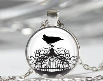 ON SALE Bird Necklace Nature Jewelry Blackbird on Cage Black and White Art Pendant in Bronze or Silver with Link Chain included