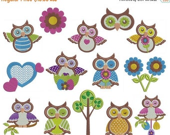 ON SALE OWLS 2 - Machine Filled Embroidery - Instant Digital Download