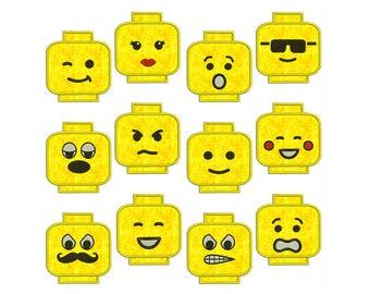 LEGO BLOCK FACES - Machine Applique Embroidery - Instant Digital Download