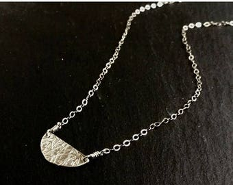 SALE Half Moon Sterling Silver Necklace