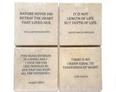 Literature Quote Coaster Set (4 Stone Coasters) Austen, Emerson, Frost, & Wordsworth
