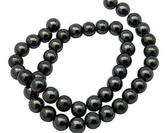 Black Beads Gunmetal Beads Hematite Beads 8mm Beads 8mm Hematite Beads BULK Beads Wholesale Beads Shiny Beads Full Strand