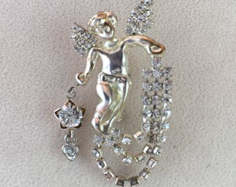 Rhinestone Guardian Angel Pin, Brooch, Waterfall Pin, Cupid, Vintage Jewelry