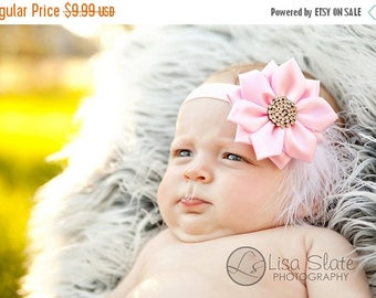 12% off SALE Newborn headband, baby headband, adult headband, photo prop The single sprinkled- Satin rhinestone flower- stretch headband