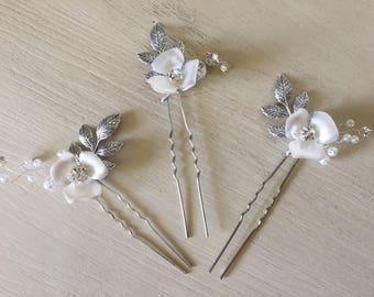Floral hair pins, bridal hair pins, wedding hair pins