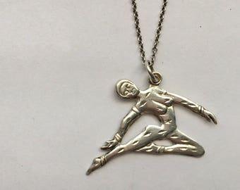 Vintage Silver Dancing Lady Acrobat Dancer Charm Necklace