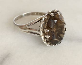 Vintage 1970's 1978 Smoky Quartz Stone Silver Ring N 6 1/2 - 7 Modernist Style