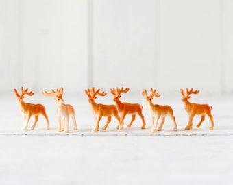 Reindeer Figurines - 6 Miniature Plastic Deer for Crafts