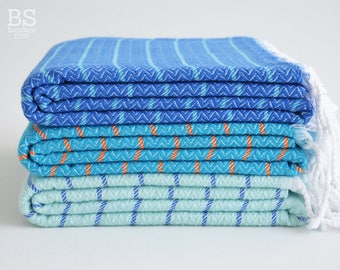 NEW / SALE 50 OFF/ BathStyle / Turkish Beach-Bath Towel Peshtemal / Ocean Blue-Blue-Ice Blue