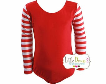 CHILD (Xmas-Red)Striped Long Sleeve Leotard