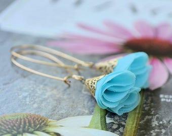 Aqua Silk Rose Petal Pixie Hat Featherweight Earrings-wedding, bridesmaid, something blue, summer jewelry, flower earrings, hostess gift