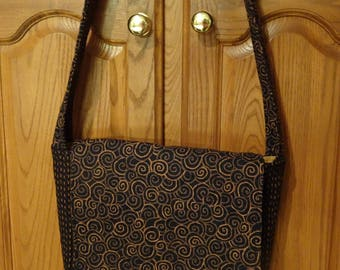 Black and Bronze Flap Closure  Quilted Purse Shoulder Bag Tote