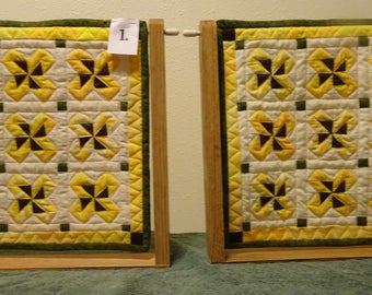 """August  Miniature  """"Quilt of the Month"""" Patchwork Quilt or Table Topper - Sun Flower Pinwheel Yellow, Brown and Green Mini Quilt"""