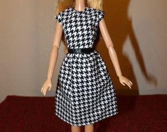 Stylish black & white modest dress for Fashion Dolls - ed1016
