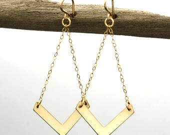Gold Chevron Earrings - Rich 14k Yellow Gold Filled Dangle Earrings for every woman