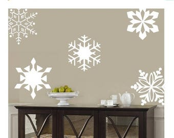 20% OFF Snowflakes  10- 10 inch-holiday Vinyl Lettering wall words graphics Home decor itswritteninvinyl