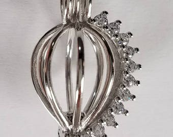 Sterling Silver Cage Pendant with Crystals