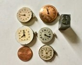 Vintage Round Wrist Watch Faces with Workings and Hands Attached for Collage Crafts and Steampunk