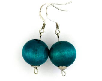 Wooden earrings turquoise