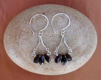 Red Garnet Teardrop Earrings Small Gemstone Dangles Sterling Silver Drop Earrings January Birthstone Fringe Earrings