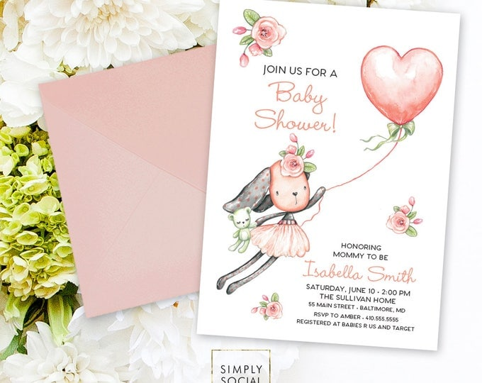 Bunny Baby Shower Invitation - It's a Girl Watercolor Rabbit Modern Baby Shower Pink Floral Invitation Rose Peony Some Bunny Printable