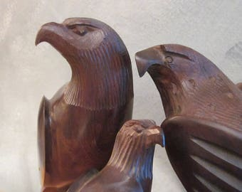Ironwood Bird Carvings - 3 Eagle Hawk Family Sculptures - Vintage Southwestern Carved Wood Figures