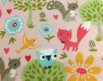 Girly forest friends  - Flannel Fabric -25""
