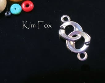 Small Double Heart Sister Hook Clasp in Sterling Silver by Kim Fox