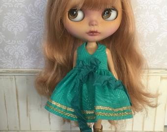 Blythe Dress - Aqua and Gold