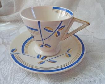 Vintage Art Deco Demitasse' Tea Cup & Saucer Sacavem Portugal