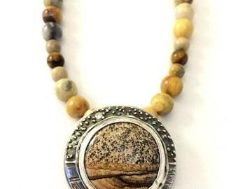 ON SALE Picture Jasper necklace, Jasper and silver pendant