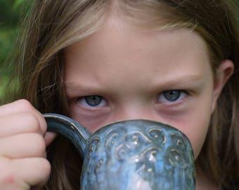 pottery mug blue, ceramic mug blue, hand made coffee mug, wheel thown pottery mug, coffee mug rustic, christmas gift ideas, coffee mug boho