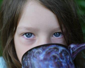 pottery mug purple, ceramic mug purple, van gogh mug, christmas gift ideas, pottery coffee mug, starry night mug, birthday gift, coffee mug