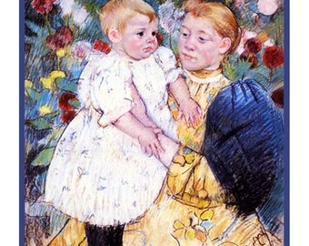 Sweet Sale Playing In The Garden Inspired by Impressionist Painter Mary Cassatt Counted Cross Stitch Chart