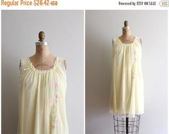 SALE SALE vintage 1960s pastel chiffon nightie - sheer nylon nightgown / vintage 60s nightie - pale yellow slip dress / Sweet Kawaii - fairy