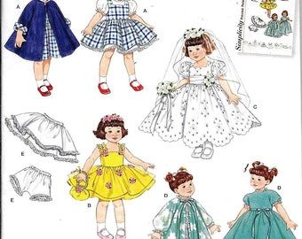 "Simplicity 2775 Retro Reissue 8"" Doll Clothes Dress Sewing Pattern UNCUT Vintage 1950s 1960s"