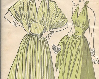 Vintage 1940s Advance 4870 Halter Dress And Scarf Wrap Sewing Pattern Plus Size 18 Bust 36