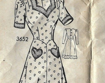 Vintage 1940s Mail Order Dress Sewing Pattern 3652 Size 16 Bust 34
