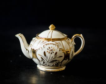 Vintage Small White and Gold Teapot
