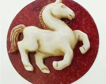 Horse Pony Ring 925 Sterling Silver Coral Buffalo Bone Jewelry With Soul Sz 6.5 RG197 E1158