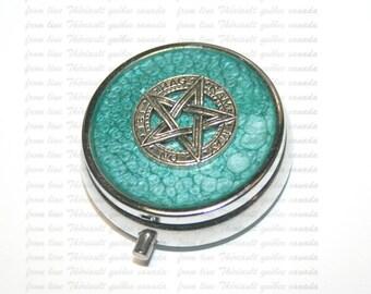Box for pills, pillbox, pill case, Pentagram on turquoise background (p)