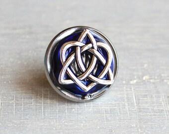 royal blue celtic knot tie tac, mens jewelry, groomsmen gift, wedding jewelry, Irish wedding, anniversary gift, Scottish wedding