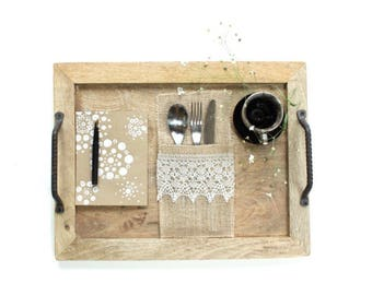New Vintage Burlap Silverware Pockets with Lace - Modern Rustic Table Settings