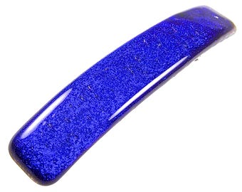"Dichroic Barrette - Blue Sapphire Cobalt Navy Royal Blue Plain One Color Smooth Fused Glass - 3.5""  9cm - Simple Hair Slide Metallic Clip"