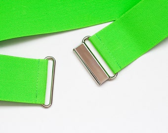 "2"" neon green elastic belt - Women's cinch waist belt"