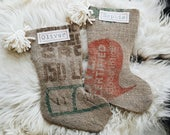 Burlap Stockings Personalized Green and Red - Rustic Christmas Stockings Burlap Coffee Sack