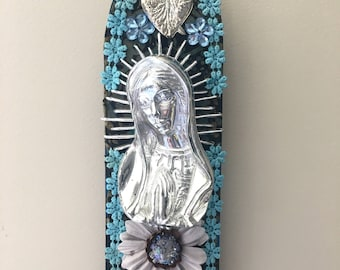 Virgin Mary Our lady of Guadalupe / silver gold blue / love sacred heart Mexican wall art