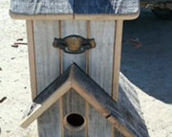 Double Stacked Rustic Birdhouse